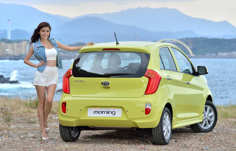 Photo wallpaper auto, look, smile, Girls, Asian, KIA, beautiful girl, posing on the car