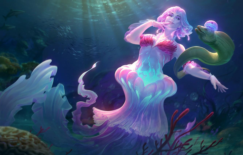Photo wallpaper sea, the ocean, Medusa, fantasy, art, Jon Neimeister, Lady of the Sea Discordia