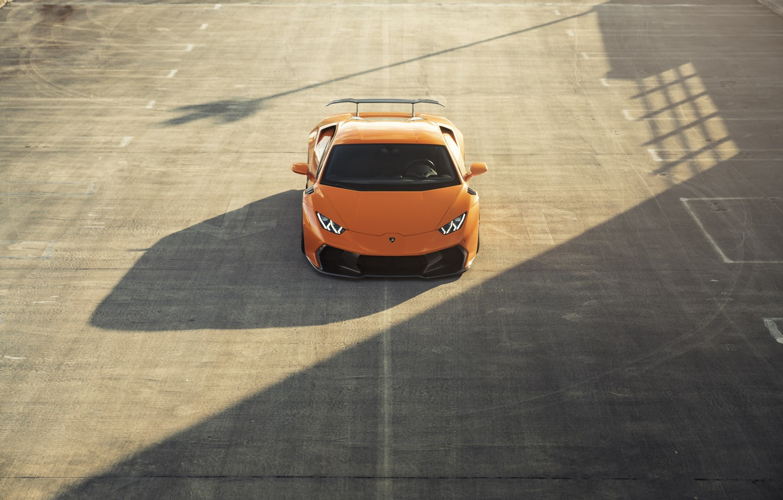 Photo wallpaper Lamborghini, Orange, Parking, VAG, Huracan