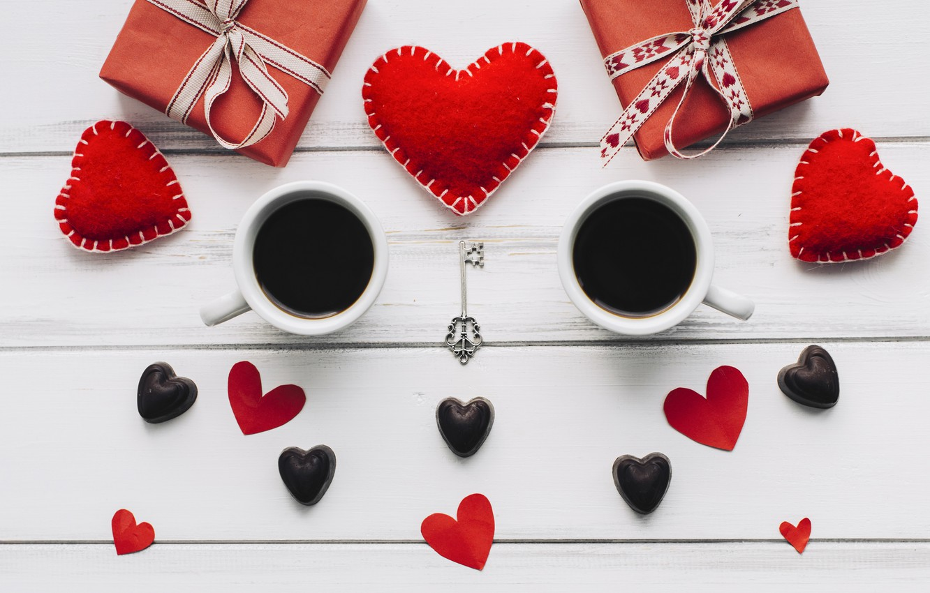 Photo wallpaper love, gift, heart, hearts, red, love, heart, wood, cup, romantic, valentine's day, coffee, a Cup …