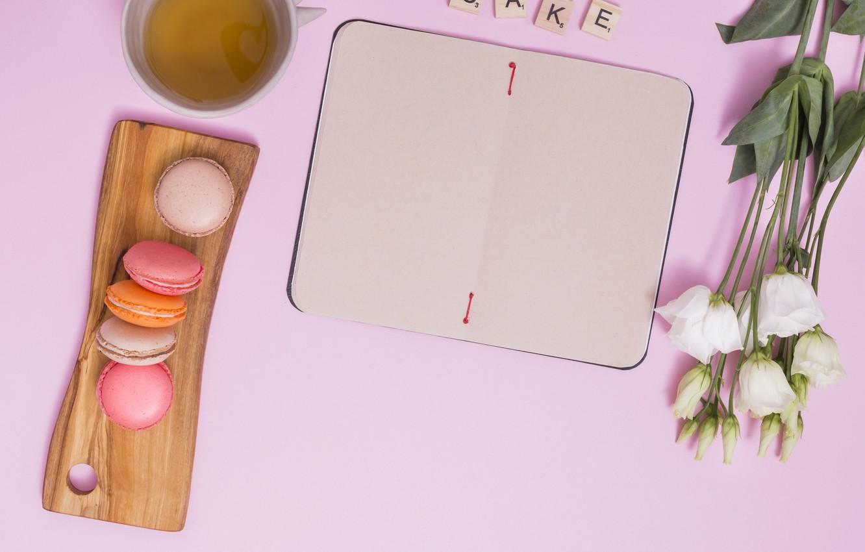 Photo wallpaper tea, bouquet, Breakfast, Notepad, eustoma, macaron