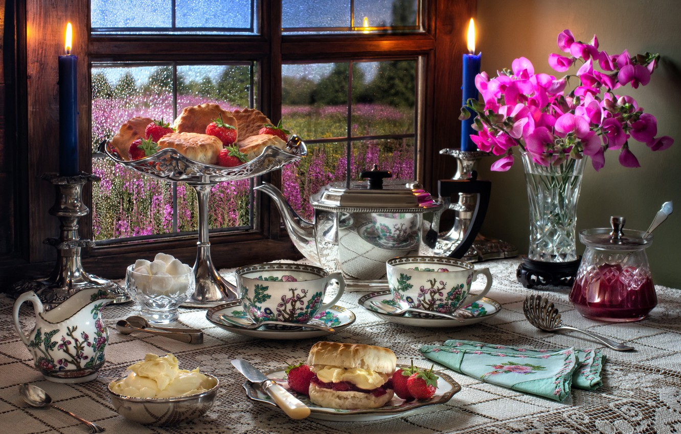 Photo wallpaper flowers, style, berries, candles, kettle, window, strawberry, Cup, vase, mugs, jam, buns