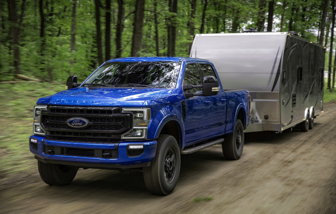 Photo wallpaper blue, Ford, pickup, the trailer, Super Duty, F-250, Tremor, 2020, Off-Road Package, F-series