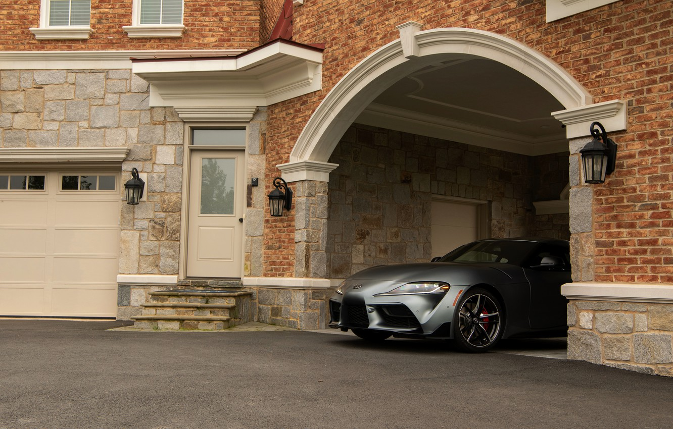 Photo wallpaper coupe, yard, arch, Toyota, Supra, the fifth generation, mk5, double, 2020, 2019, GR Above, A90, …