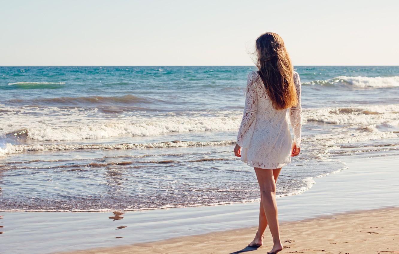 Photo wallpaper sea, girl, pose, shore, dress