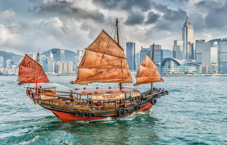Photo wallpaper building, home, Bay, Hong Kong, harbour, Hong Kong, junk, The Victoria Harbour, Kowloon, Kowloon, Victoria …