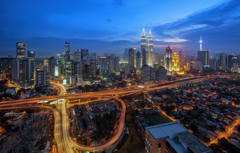 Photo wallpaper road, night, the city, Malaysia, Kuala Lumpur, ring road