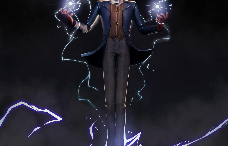 Photo wallpaper lightning, lightning, power, Tesla, Tesla, physicist, Nikola Tesla
