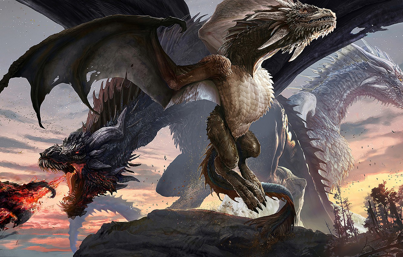 Photo wallpaper fire, fantasy, horns, wings, digital art, artwork, fantasy art, creature, Dragons