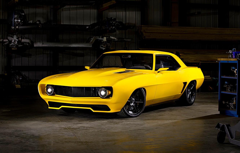Photo wallpaper Camaro, Inferno, Yellow, Garage, Pro Touring