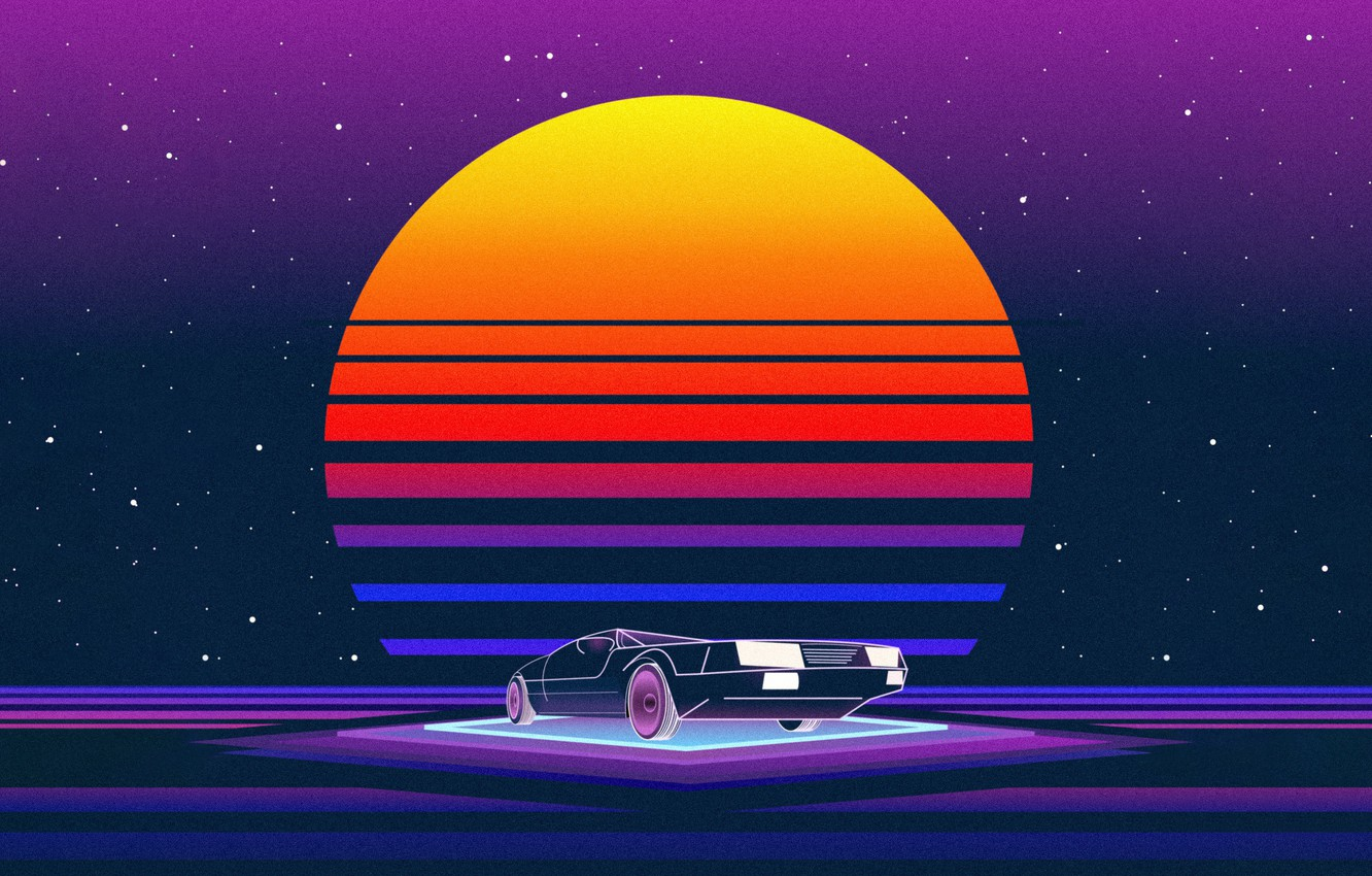 Photo wallpaper The sun, Music, Machine, Star, Style, Background, 80s, Style, Neon, Illustration, 80's, Synth, Retrowave, Synthwave, ...