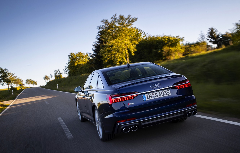 Photo wallpaper road, Audi, sedan, feed, dark blue, Audi A6, 2019, Audi S6