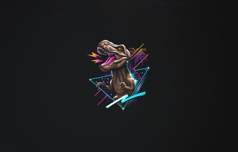 Photo wallpaper Minimalism, Background, Dinosaur, Art, Neon, T-Rex, Rex, 80's, Synth, Retrowave, Synthwave, New Retro Wave, Futuresynth, …