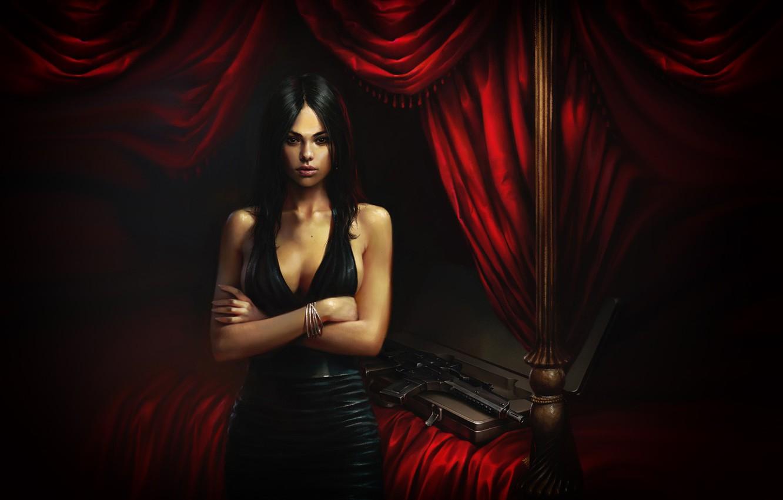 Photo wallpaper Girl, Figure, Room, Weapons, Art, Art, Illustration, madeinkipish, A Princess Who Loved Rain. Cover Art, …