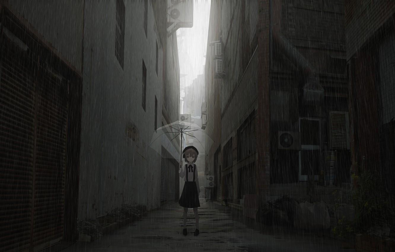 Photo wallpaper The city, Street, Girl, Umbrella
