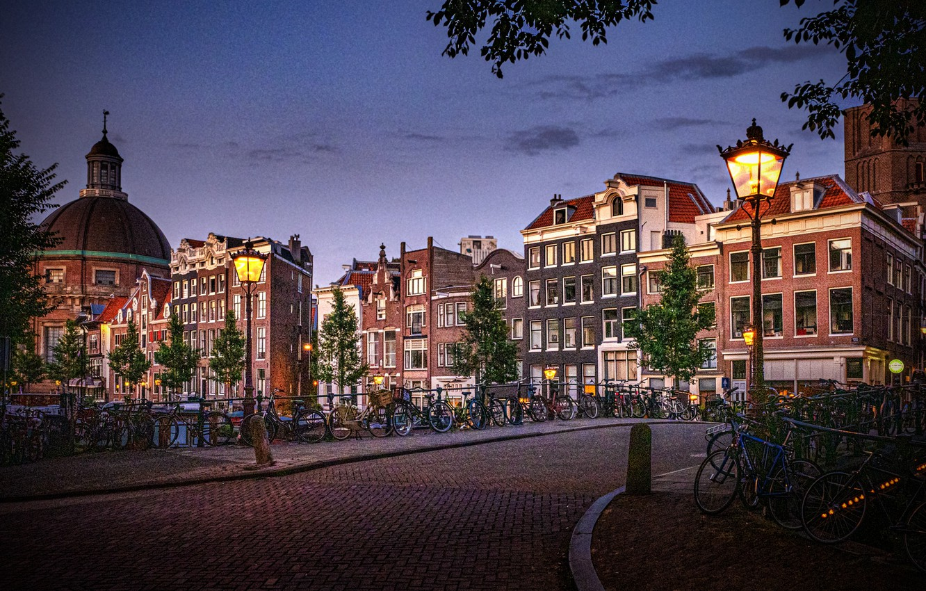 Photo wallpaper the city, building, home, Amsterdam, lights, Netherlands, bikes, Holland