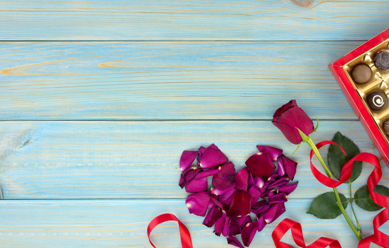 Photo wallpaper gift, heart, roses, petals, red, red, love, heart, wood, flowers, romantic, valentine's day, petals, roses, …