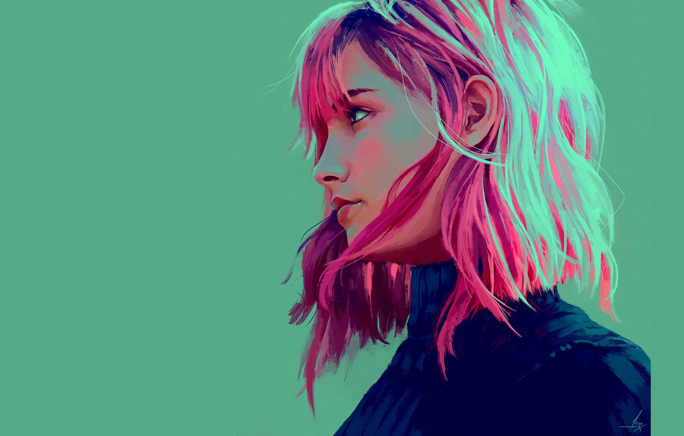 Wallpaper Green Background Pink Hair In Profile Bangs Portrait Of A Girl Rafaela Cabral By Akramness Images For Desktop Section Zhivopis Download