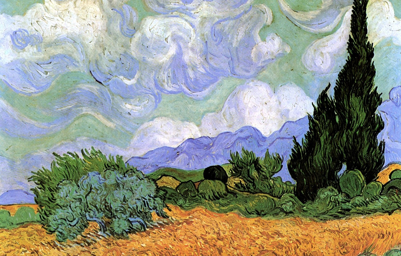Wallpaper Vincent Van Gogh Wheat Field With Cypresses
