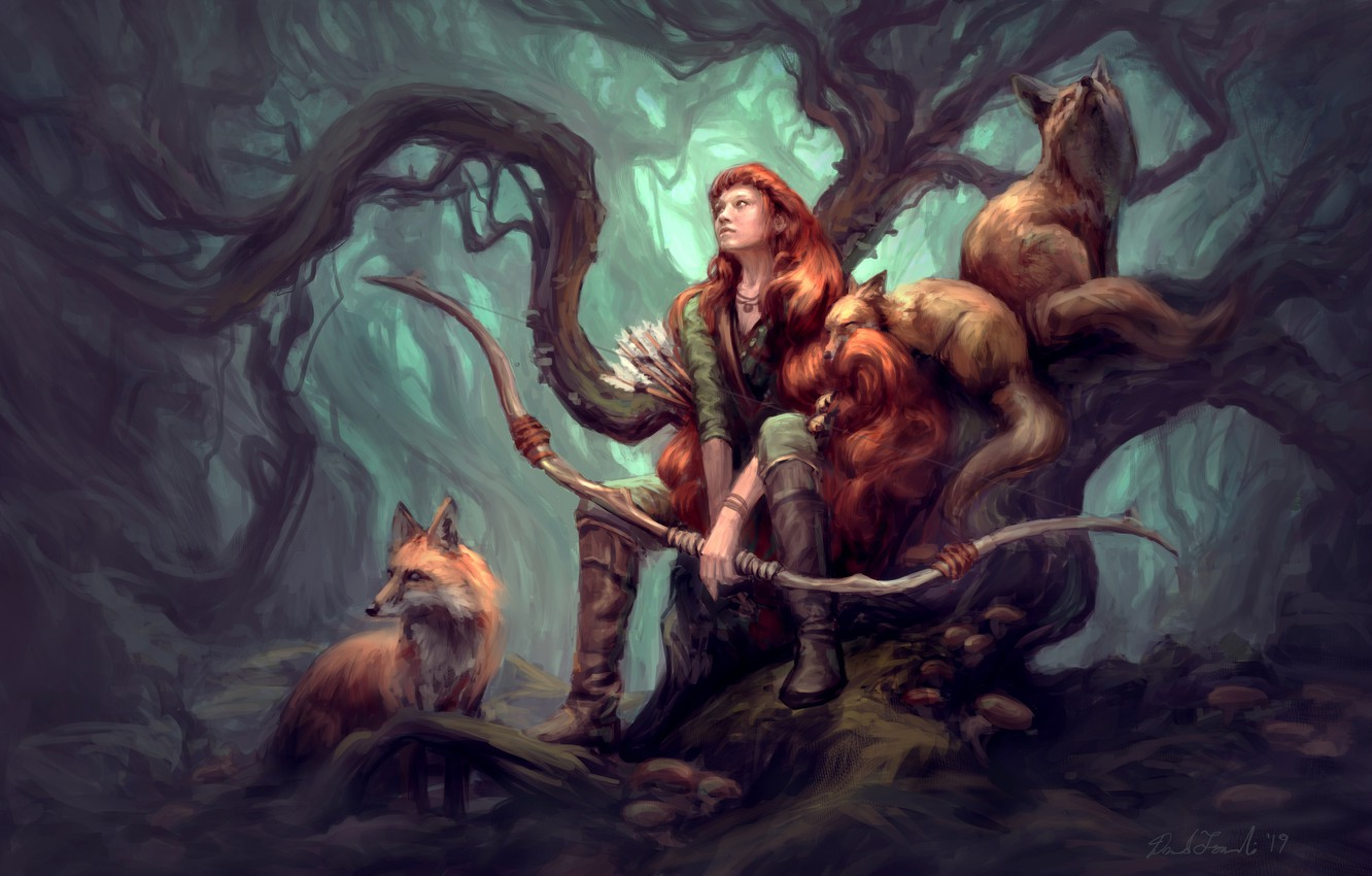 Photo wallpaper animals, girl, nature, animals, tree, art, Fox, hunter, illustration