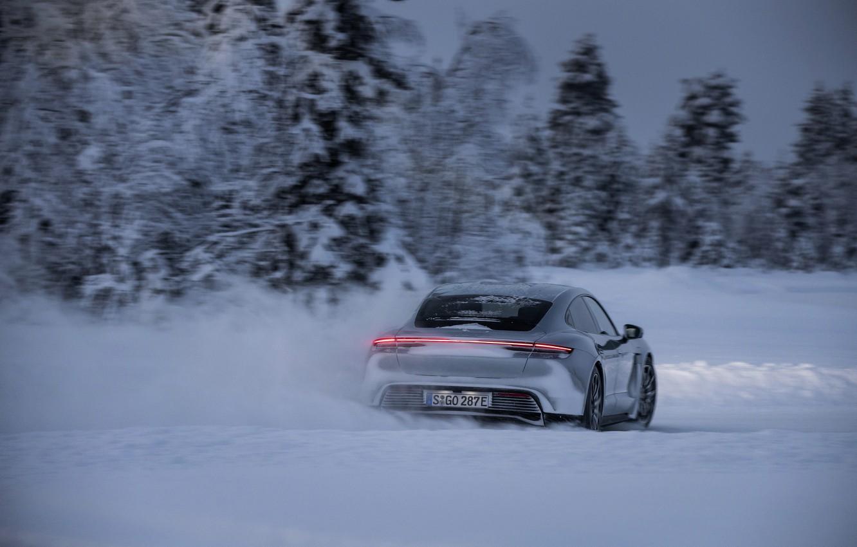 Photo wallpaper road, snow, trees, grey, Porsche, back, 2020, Taycan, Taycan 4S
