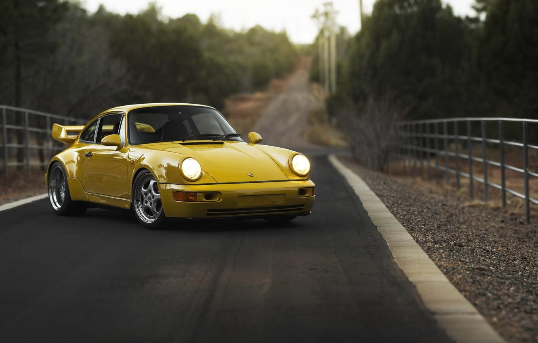 Photo wallpaper road, machine, background, 1993 Porsche 911 Carrera RS 3.8