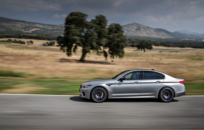 Photo wallpaper trees, grey, movement, track, BMW, valley, profile, sedan, 4x4, 2018, four-door, M5, V8, F90, M5 …