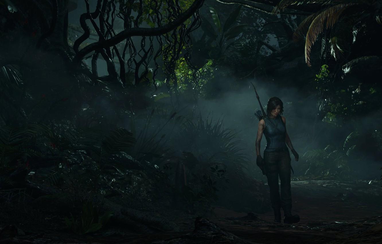 Photo wallpaper fog, bow, dirt, jungle, Lara Croft, lara croft, fern, jungle, adventure, bow, Liana, mist, adventure, …