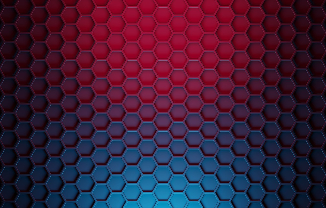 Photo wallpaper mesh, cell, faces, blackout, polyhedra, color transition