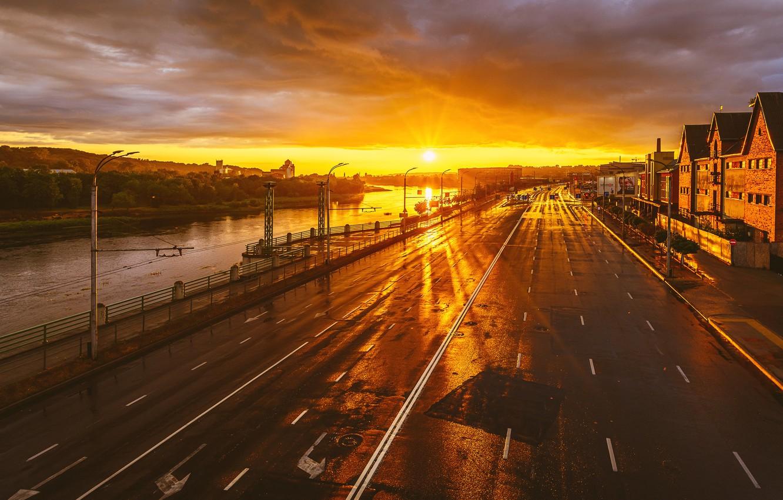 Photo wallpaper sunset, the city, Lithuania, Kaunas, After rain