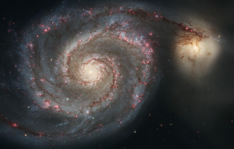 Photo wallpaper Hubble, Spiral galaxy, Whirlpool Galaxy, Messier 51