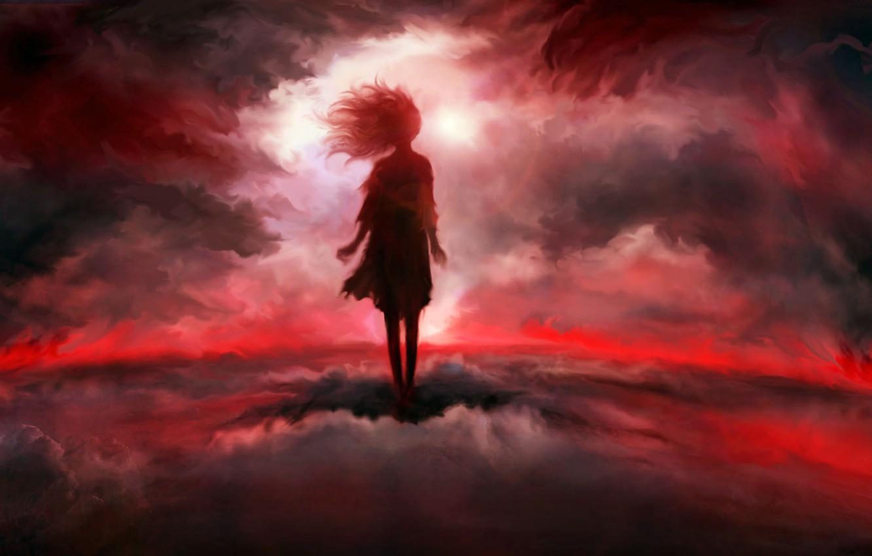 Photo wallpaper girl, clouds, fantasy
