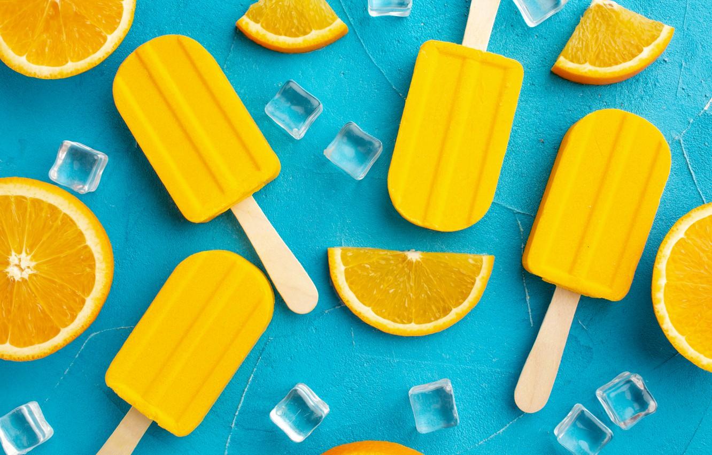 Photo wallpaper background, oranges, ice cream, Popsicle, slices, ice cubes, orange