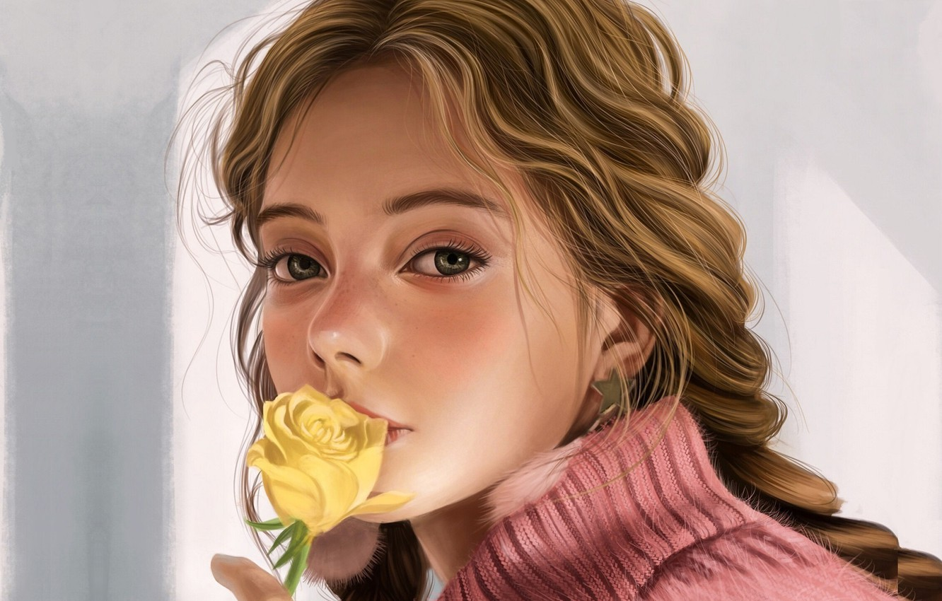 Photo wallpaper pink, grey background, sweater, portrait of a girl, yellow rose, Vincent Chu