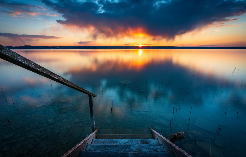 Photo wallpaper sunset, nature, shore