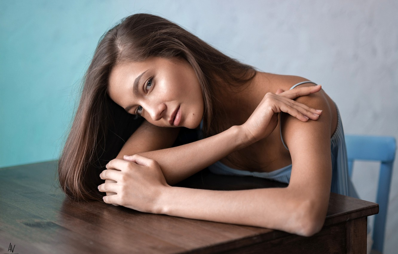 Photo wallpaper look, pose, model, portrait, makeup, dress, hairstyle, chair, brown hair, sitting, bokeh, at the table, …