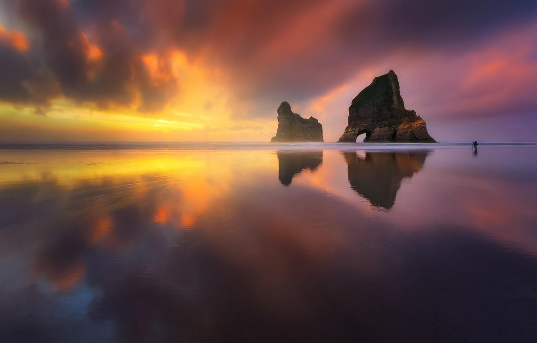 Photo wallpaper sea, beach, the sky, light, rock, the ocean, photographer