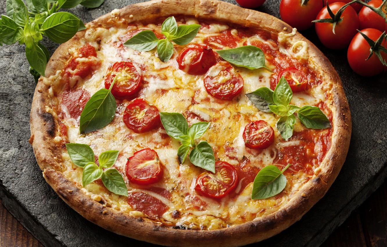 Photo wallpaper cheese, pizza, tomatoes, Basil