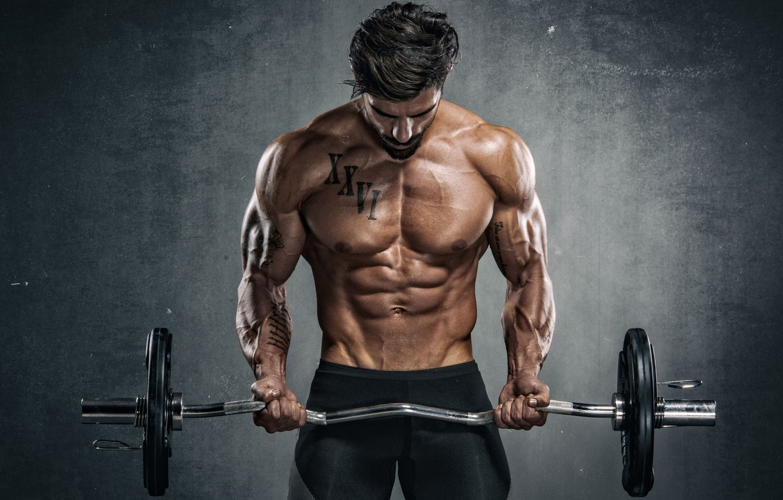 Photo wallpaper pose, muscle, muscle, rod, press, athlete, gym, bodybuilder, abs, Gym, bodybuilder, gym