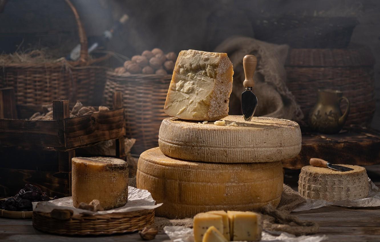 Photo wallpaper cheese, nuts, still life, basket, cheese, Александр Хардин