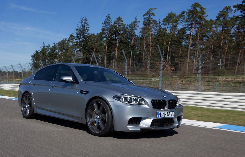 Photo wallpaper grey, movement, BMW, sedan, F10, 2013, M5, M5 Competition