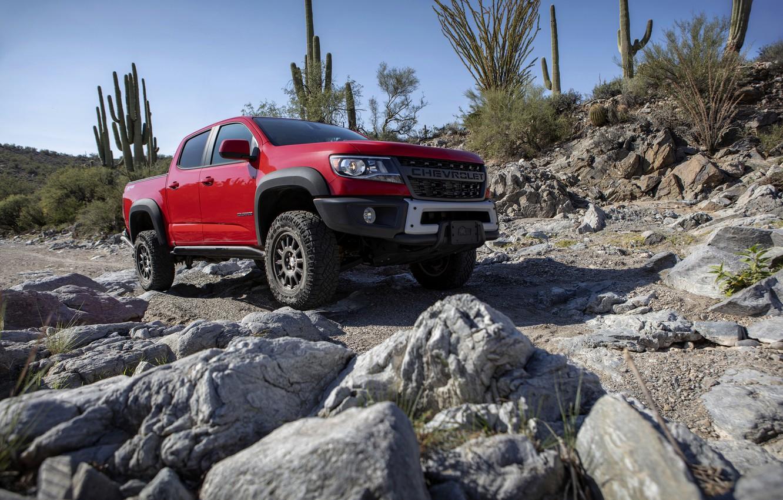 Photo wallpaper red, stones, Chevrolet, cacti, pickup, Colorado, 2019, ZR2 Bison