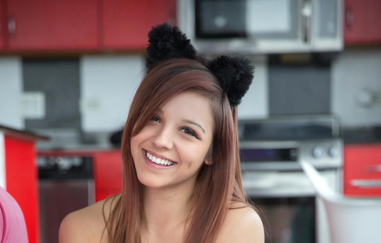Photo wallpaper girl, sweetheart, beauty, girl, laughs, cat ears