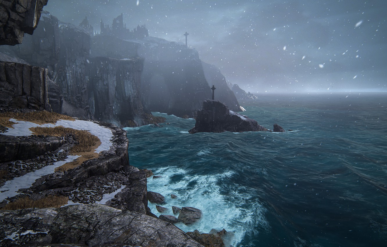 Wallpaper Snow Landscape Nature Rocks Coast Crosses