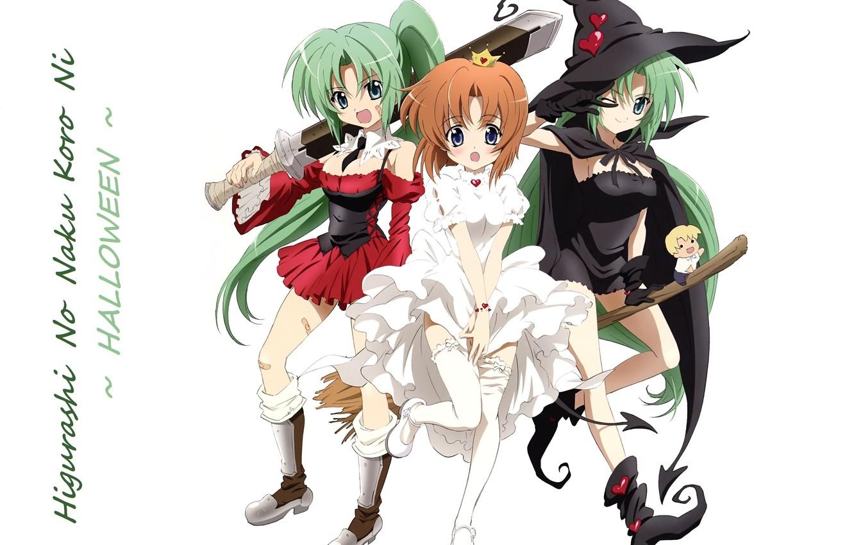 Photo wallpaper boots, crown, Halloween, white dress, green hair, wink, baseball bat, When the cicadas cry, witch …