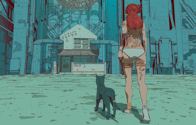 Photo wallpaper Girl, Figure, Cat, Cat, Style, Tattoo, Art, Tattoo, Art, Style, Cyborg, Cyborg, Characters, Surreal, Science …