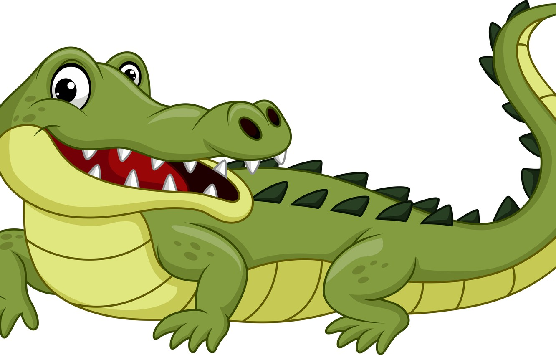 Photo wallpaper funny, drawing, crocodile, reptile