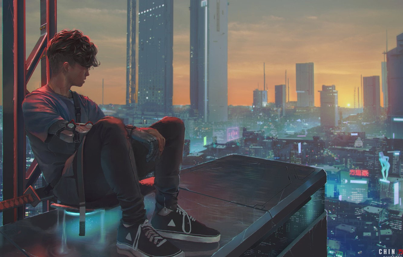 Photo wallpaper haircut, skyscrapers, guy, sneakers, the view from the top, on the roof, city lights, panorama …