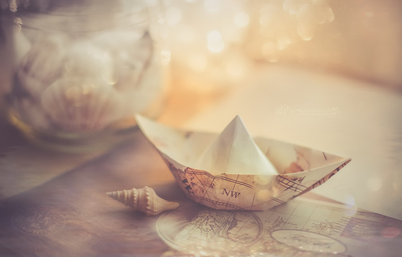 Photo wallpaper light, background, boat