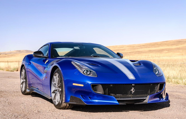 Photo wallpaper blue, sports car, front view, Gran Turismo, Ferrari F12 TDF